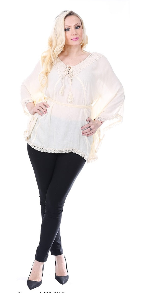 Wholesale Clothing Dresses Rayon Poncho-Solid with Lace 36/Case S/M L/XL (Off WT, BG,BK) NWH80