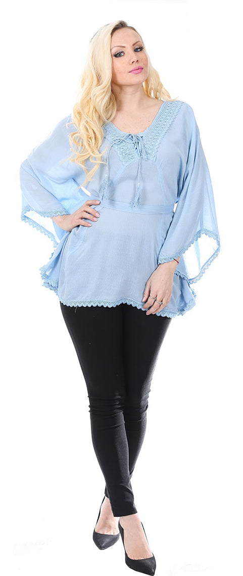Wholesale Clothing Dresses Rayon Poncho-Solid with Lace 36/Case S/M L/XL (Off WT, Lt.Blue,BK) NWH81