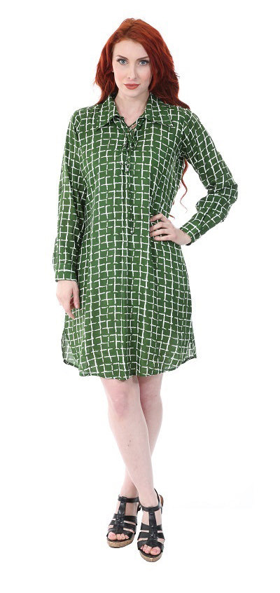 Wholesale Clothing Dresses Rayon Check Printed L/S Shirt Dress 36/Case (S-XL) NWH02