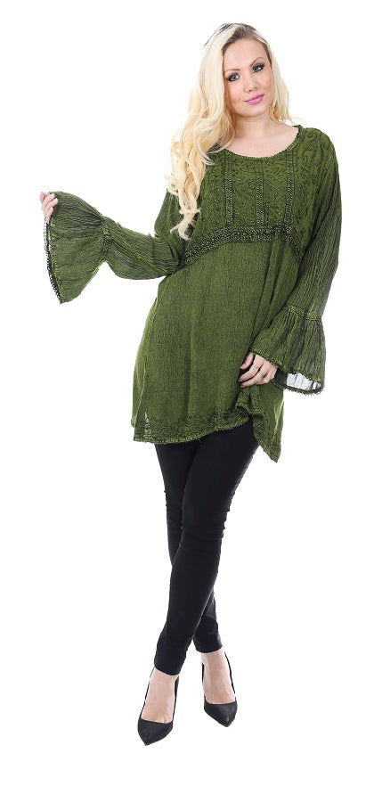 Wholesale Clothing Dresses Rayon Acid Wash 3/4 Sleeve Top 24/Case S-XL (Charcoal, Green) NWH17