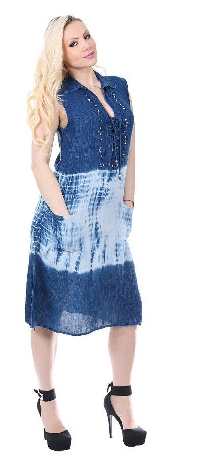 Wholesale Clothing Dresses Rayon Enzyme Denim & Tie Dye Wash Short Shirt Dress 24/Case S-XL 140GMS NWH32
