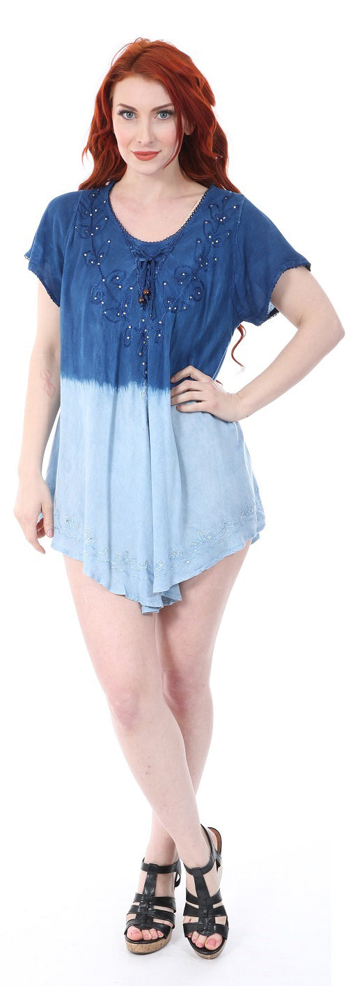 Wholesale Clothing Dresses Rayon Staple S/S Top-Ombre Denim 12/36/Case O/S (Lt/DK,Dk/Lt Denim) NWH74