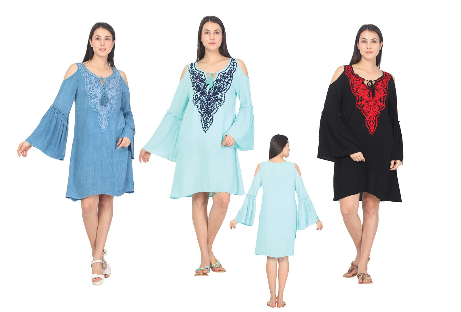 Wholesale Clothing Dresses Rayon Dress-3Q Sleeve Cold Shoulder with Heavy Embd.36/Case S-XL(WT,BK,RBL) NWG25