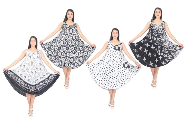 Wholesale Clothing Dresses Rayon Dress Black and White 48/Case 4 patterns NWA3