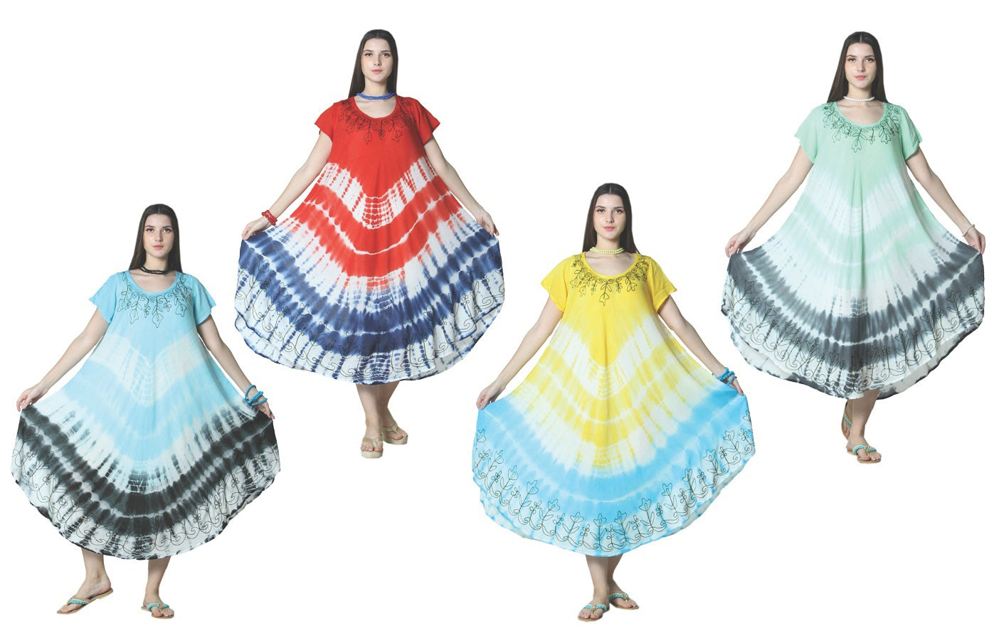 Wholesale Clothing Dresses Rayon Crape Cap Sleeve Dress-Tie Dye Brush Paint 12/48/Case O/S (3 Colors) NWG32
