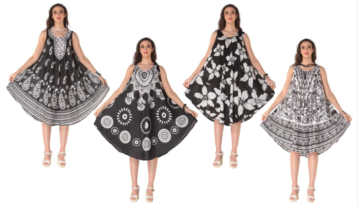 Wholesale Clothing Dresses Plus Printed Rayon Dress-Round Neck BK/WT Group 48/Case (1X-3X) NWP9p