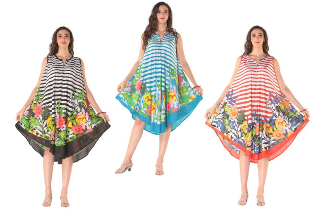 Wholesale Clothing Dresses Plus Printed Rayon Dress Stripe-Zipper 36/Case (1X-3X) 3C NWP7x