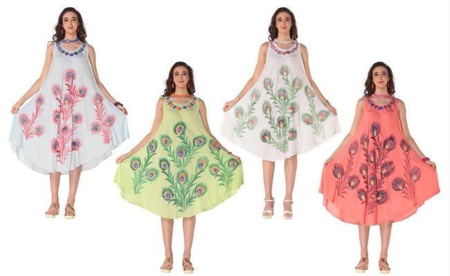 Wholesale Clothing Dresses Plus Rayon Dress-Tie Dye/Brush Paint 140gms 48/Case (1X-3X) Lime,Sky,Coral,WT NWP1x