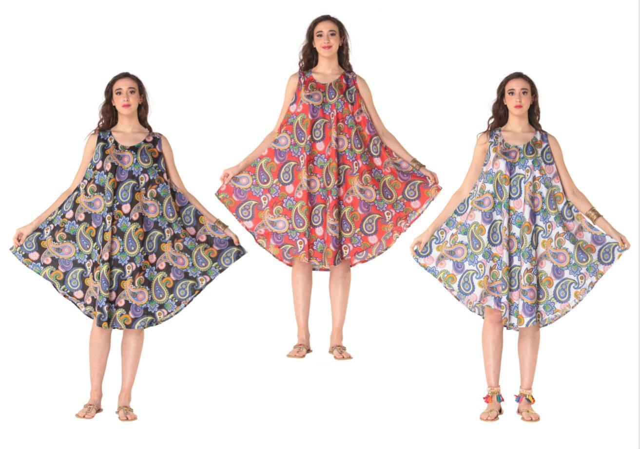 Wholesale Clothing Dresses Plus Printed Rayon Dress-Round Neck 36/Case (1X-3X) NWP1x