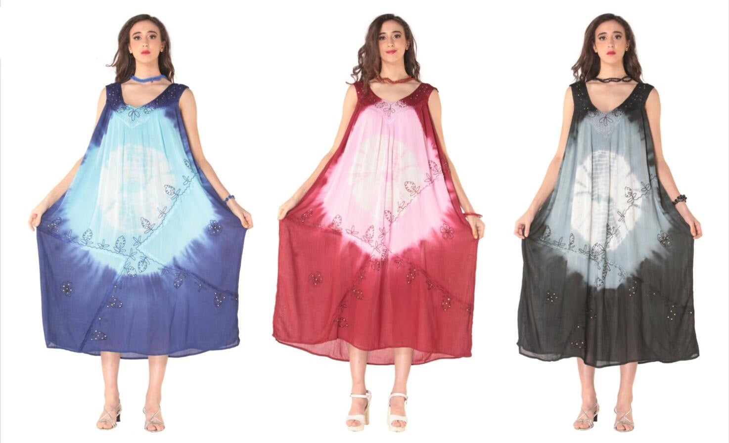 Wholesale Clothing Dresses Rayon Maxi Dress- Tie Dye 140gms 36/Case (S-XL) 3C NWG06