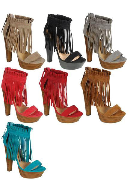 Closeout Wholesale Women high heel fringe boots N6-BERNICE