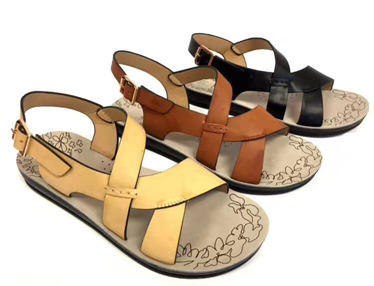 Wholesale Women's Shoes Flat Sling Back Cross Strap Open Toe Berverly Sandals NCPD4