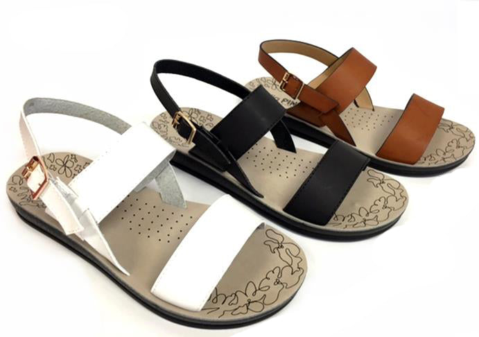 Wholesale Women's Shoes Flat Double Strap Open Toe Sling Back Mandy Sandals NCPD3