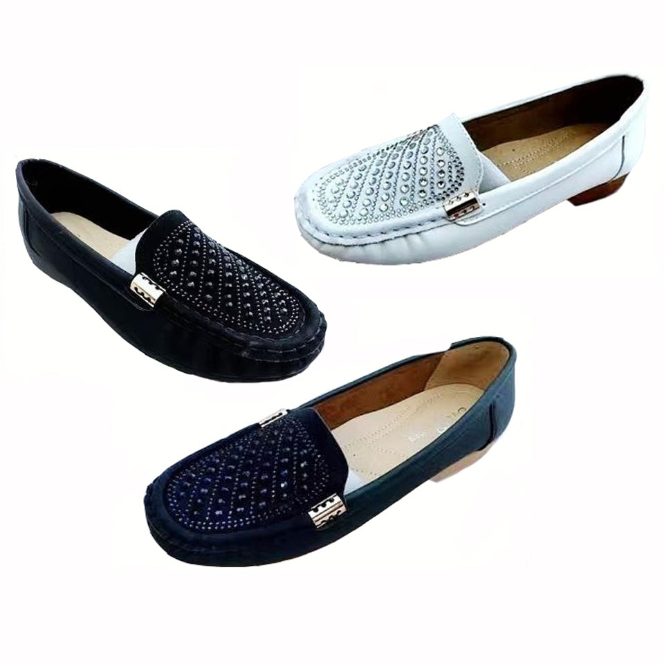 Wholesale Women's Shoes Loafer Slip On Shoes Rhinestone Studded Coy NCPL0