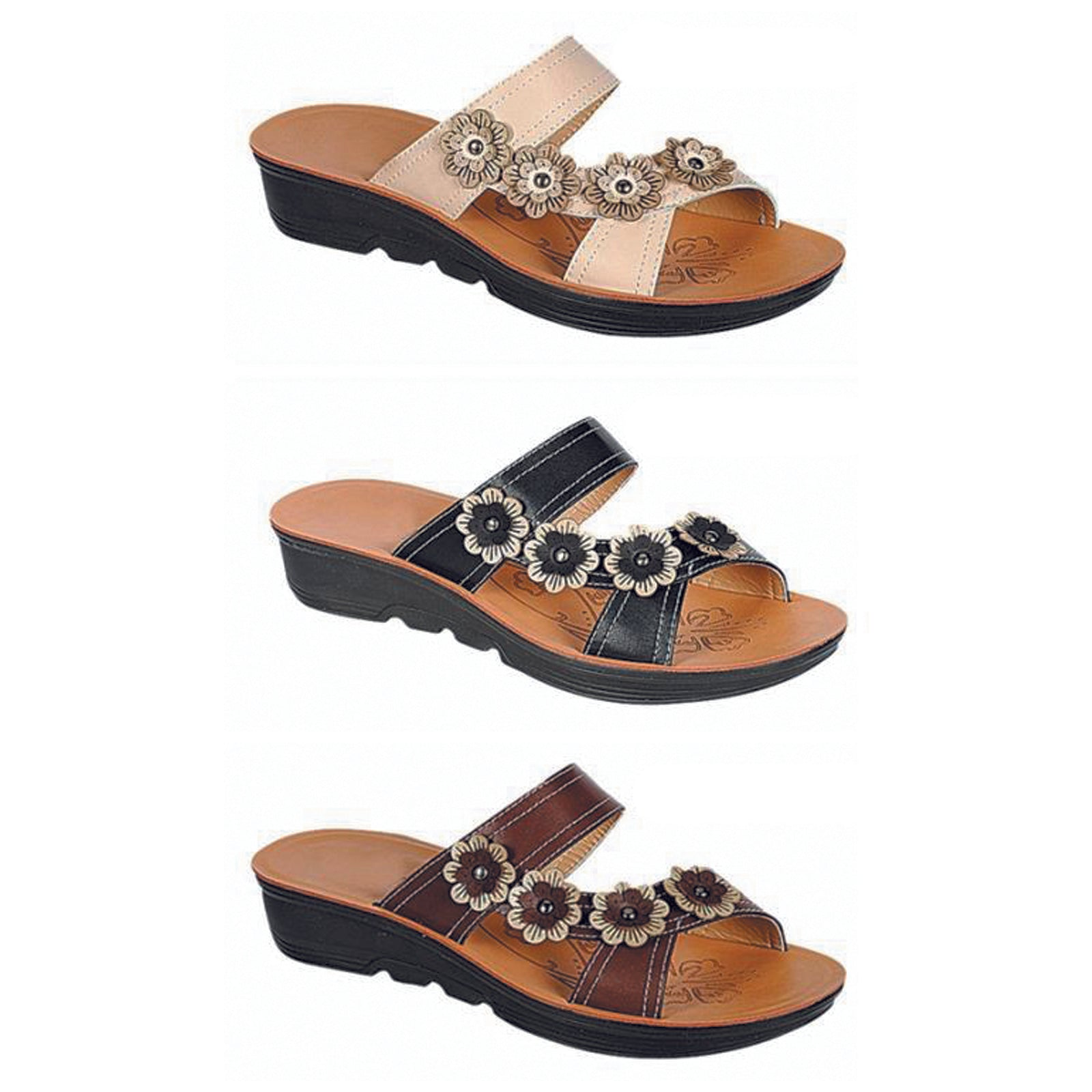 Wholesale Women's Shoes Open Toe Flower Double Strap Dennise Sandals NCPC5