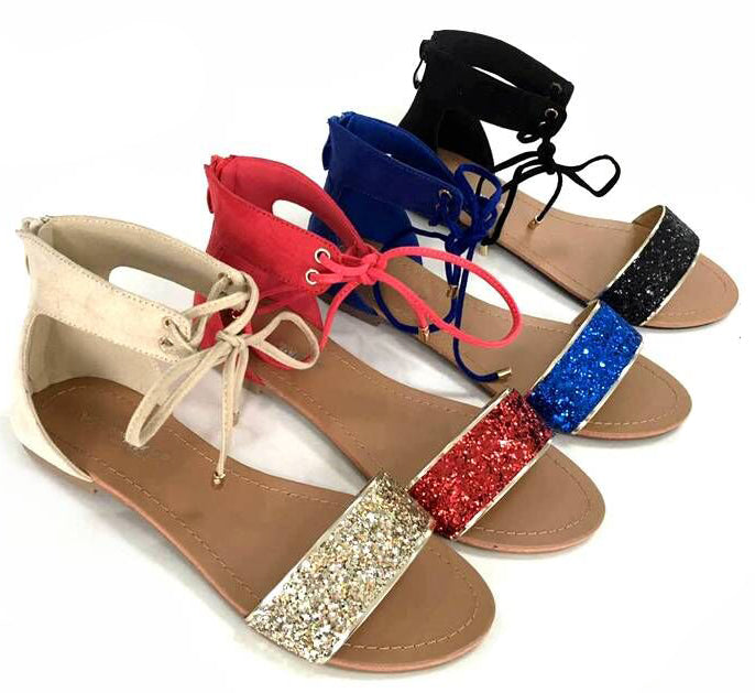 Wholesale Women's SHOES ankle strap glittered flat sandals ncpi1