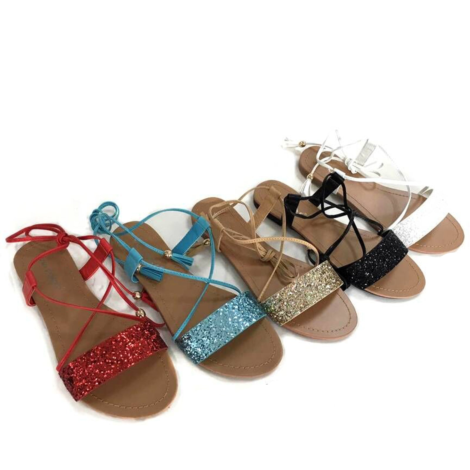 Wholesale Women's SHOES lace up glittered sandals ncpi3