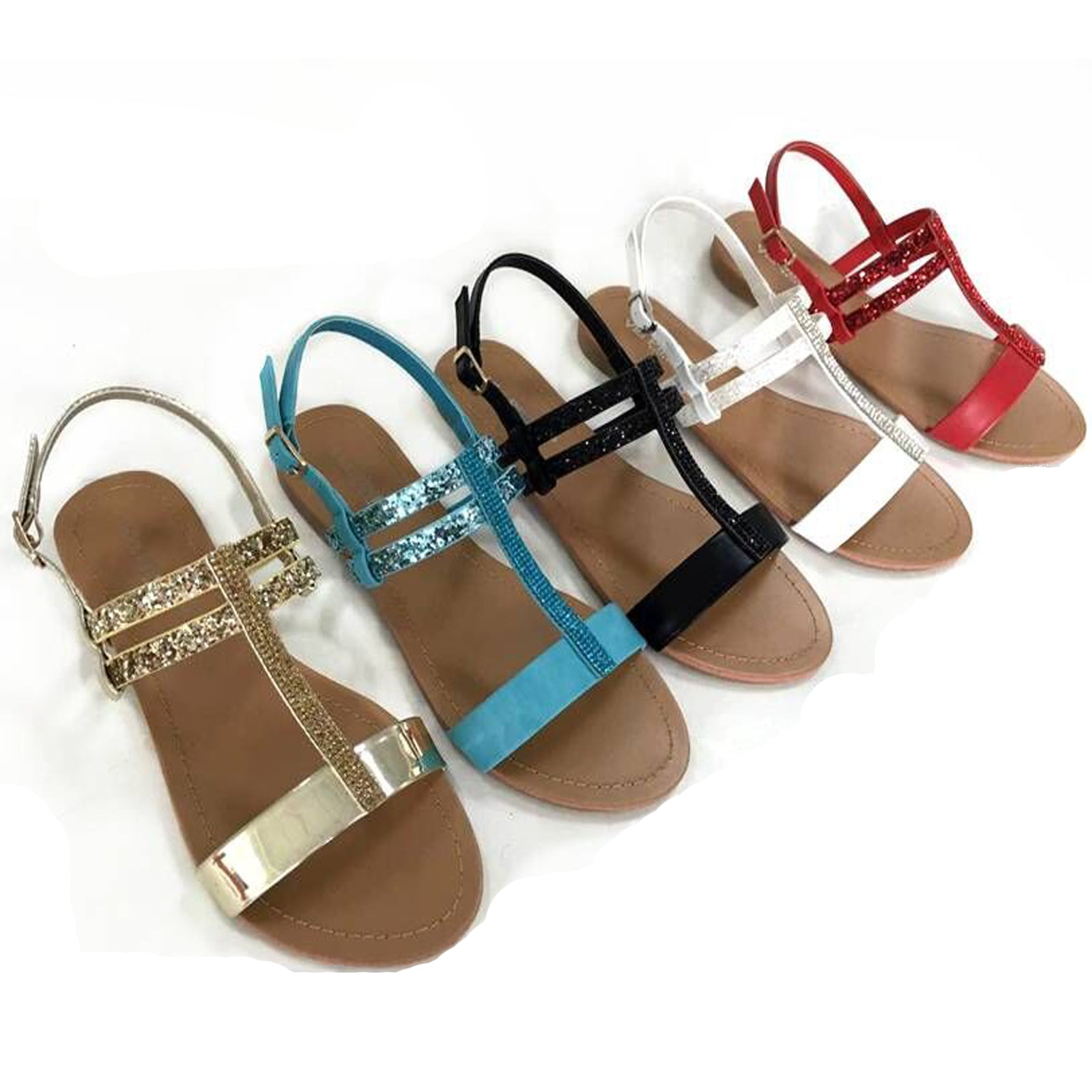 Wholesale Women's shoes glittered t strap SANDALS ncpi4