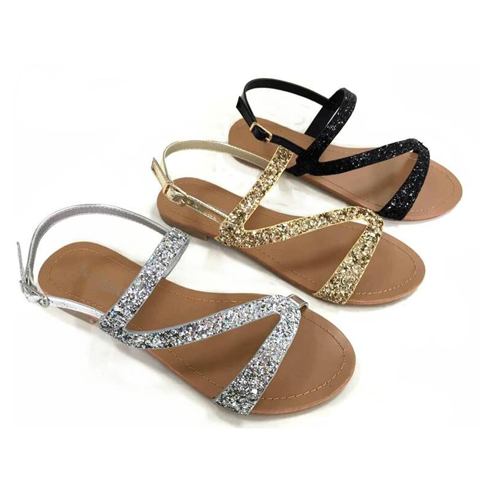 Wholesale Women's Shoes Assymetric Glittered Sandals NCPI5