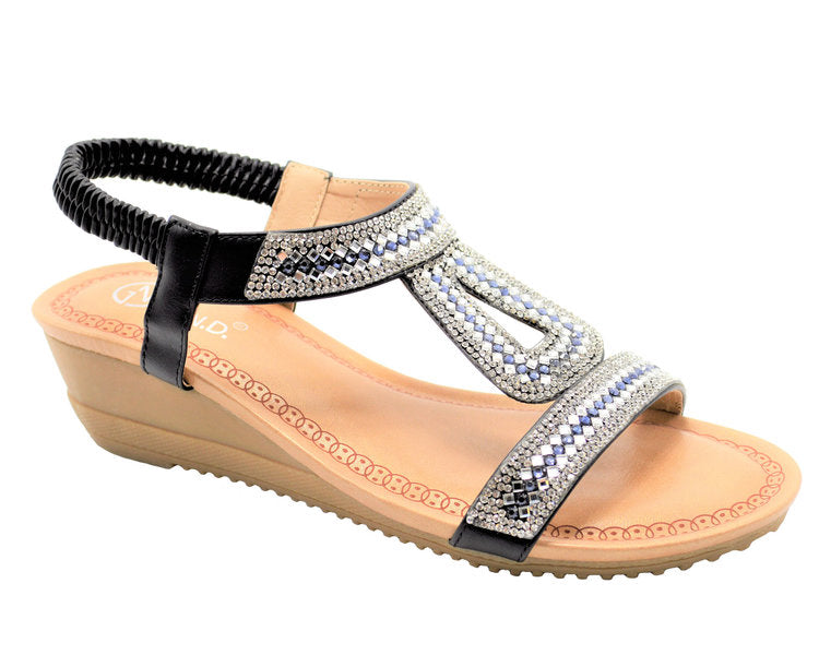 Wholesale Women's Shoes Flat Sling Back Greek Hole Strap Embellished Sandals Amaya NGJ1