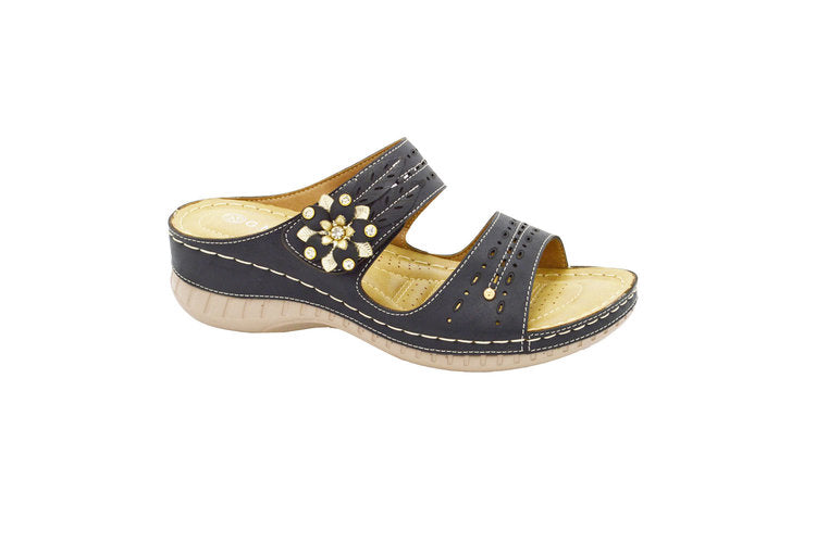 Wholesale Women's Sandals Heels Open Back Brogue Twin Strap Andrea NGHJ5