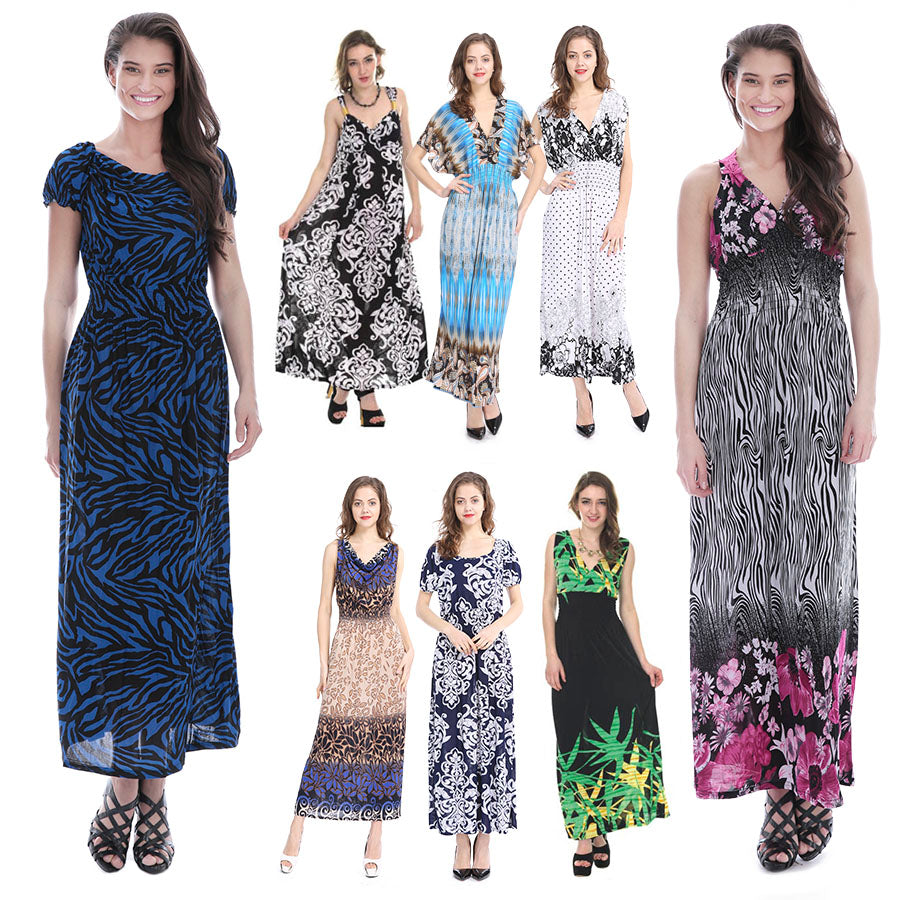Closeout Wholesale 【Plus Size】 Women\'s Maxi Long Dresses, Summer Casual  Styles Plus Size N6-PlusSize-Max-Ram