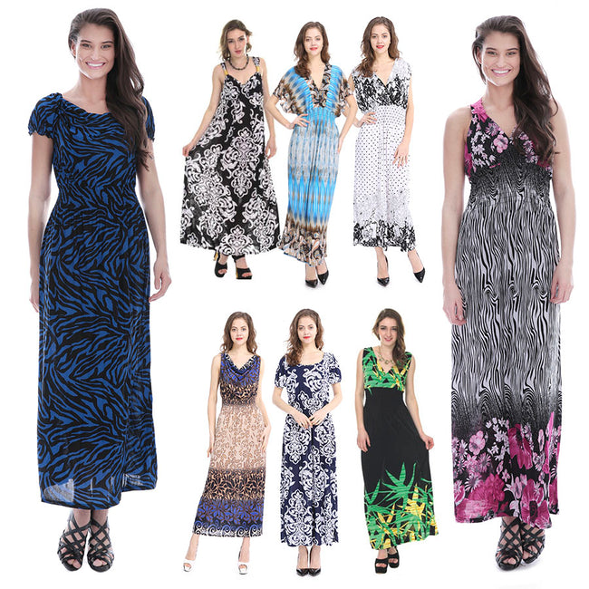 Closeout Wholesale Women's Maxi Long Dresses, Summer Casual Styles Plus Size N6-PlusSize-Max-Ram