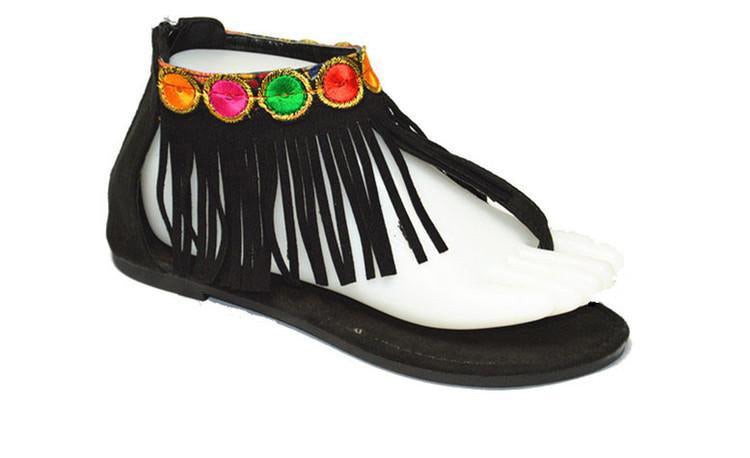 Wholesale Women's Shoes Fringe Open Toe Instep Sandals NG32