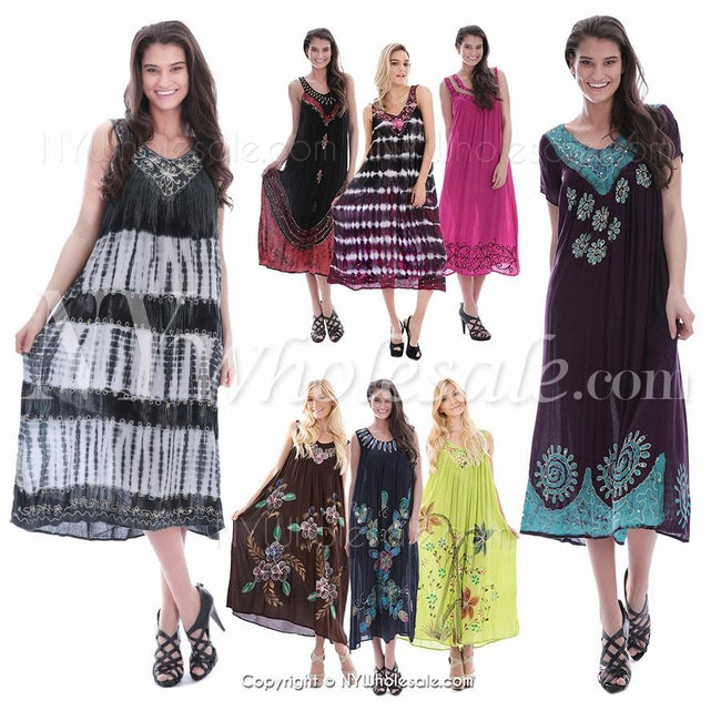 Closeout Wholesale Women Indian Long Dresses, Summer Casual Styles N6-AFL-RAM