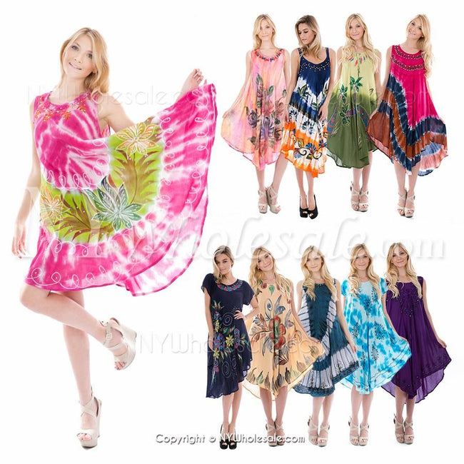 Closeout Wholesale Umbrella Indian Long Dresses, Summer Hawaii Style N6-UMB-RAM