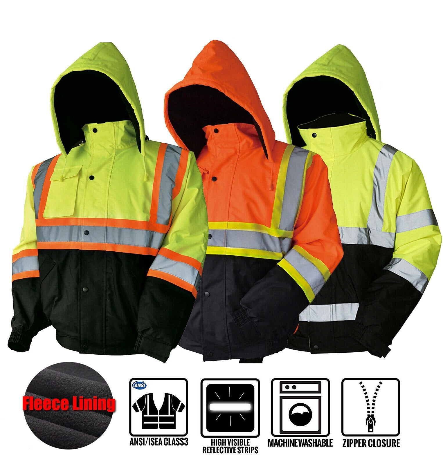 Wholesale Clothing Apparel Safety Bomber Reflective Jacket Coat Fleece Lining Size S-4XL Alex NCP#8