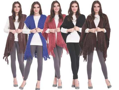 Wholesale Women's Ponchos V Neck Dolman Fringe NSIB1