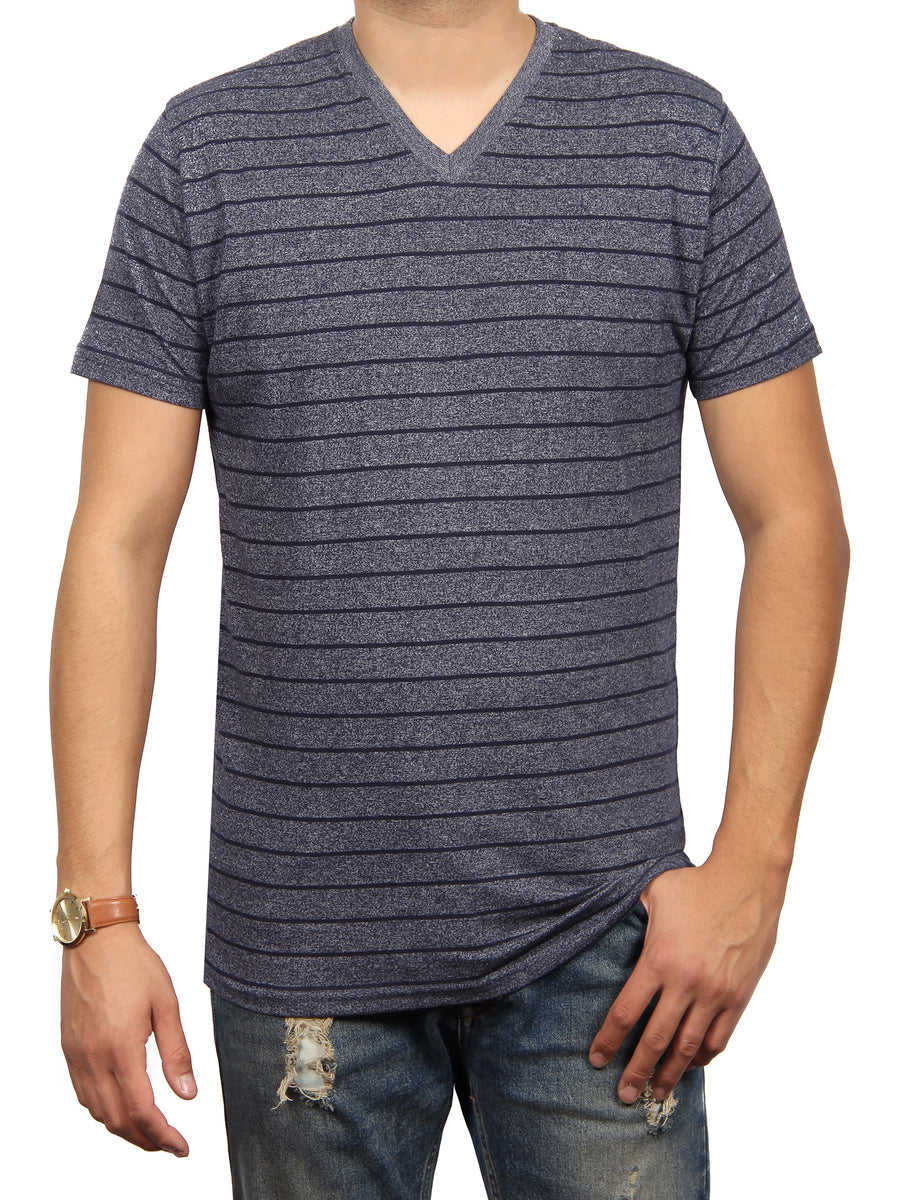 CALI GRAVEL STRIPE SS V-NECK