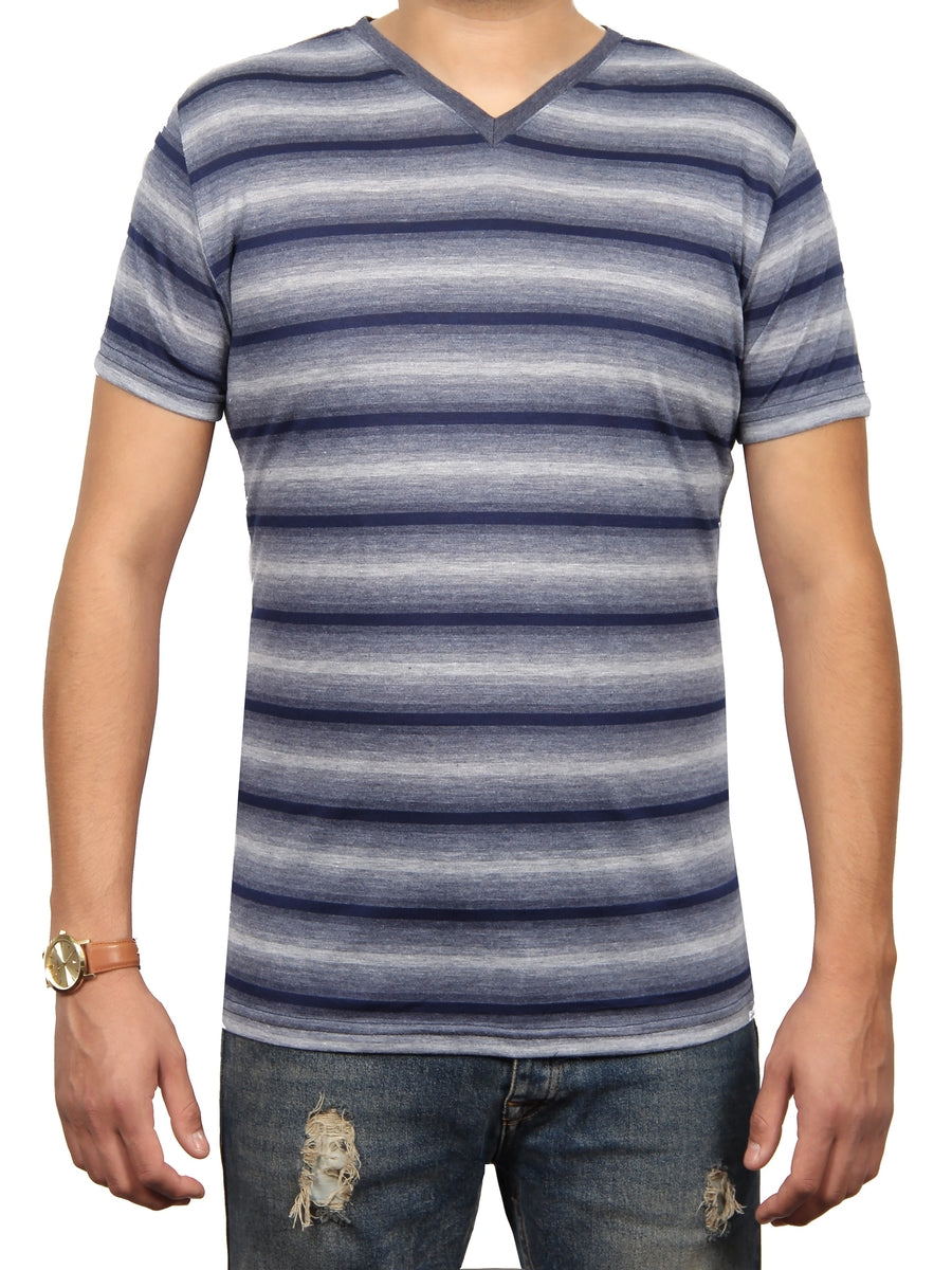 ASHER STRIPE JERSEY SS V-NECK