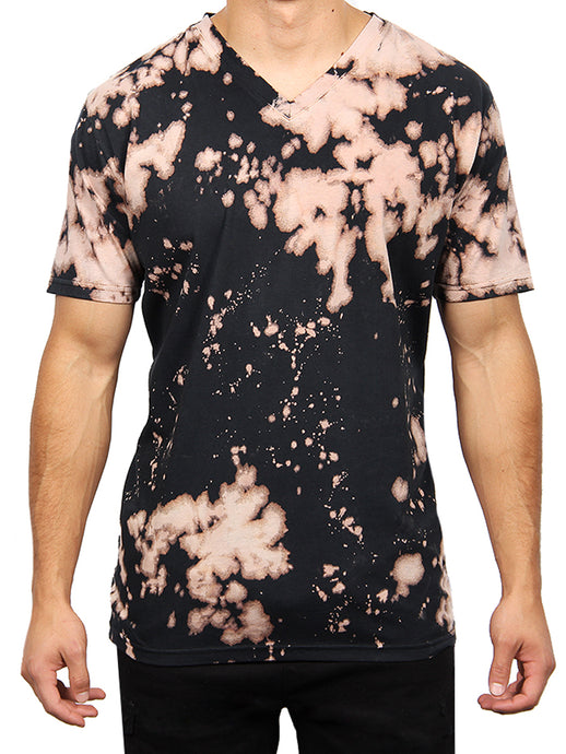 BLEACH TIE DYE V-NECK