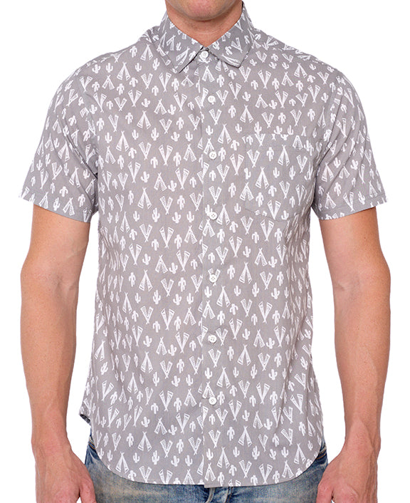 DESERT TEEPEE PRINT BUTTON DOWN SHIRT