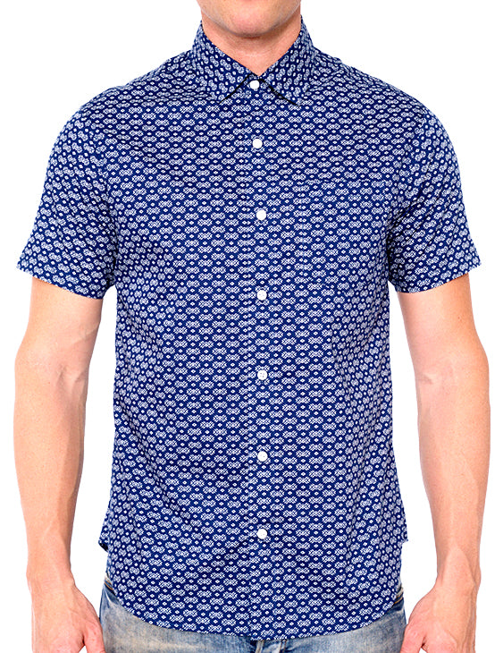 MICRO DIAMOND PRINT BUTTON DOWN SHIRT