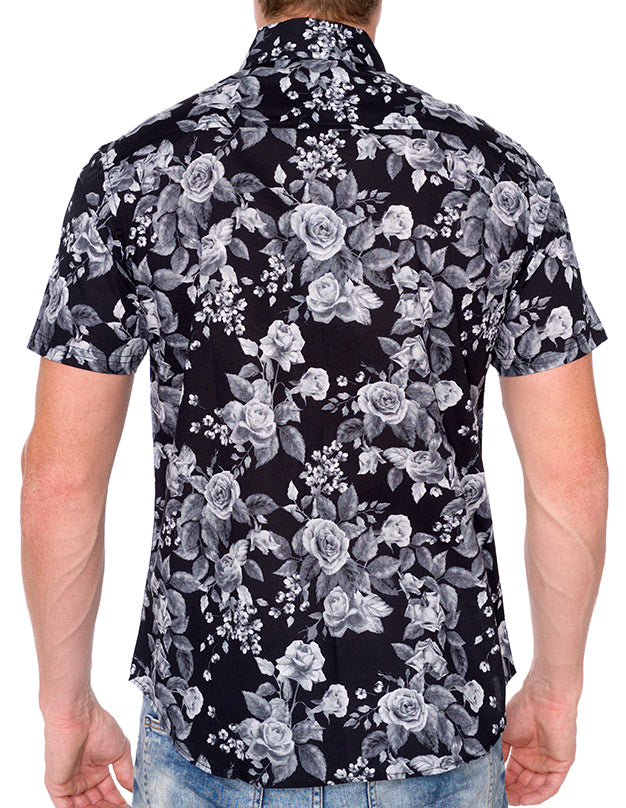 MIDNIGHT ROSE PRINT BUTTON DOWN SHIRT