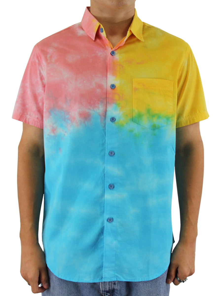 TRIO TIE DYE BUTTON DOWN SHIRT