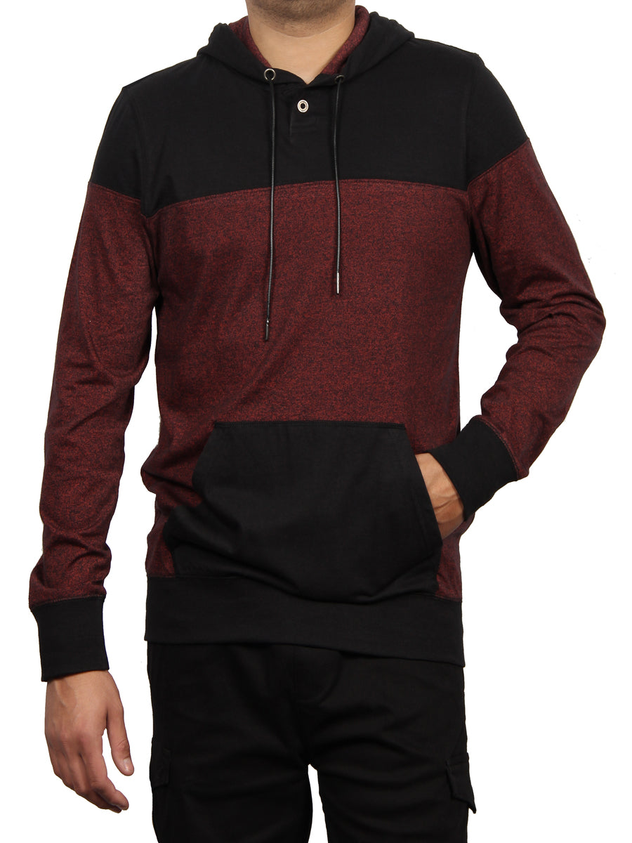 LONG SLEEVE 1 BUTTON HENLEY PULLOVER HOODIE