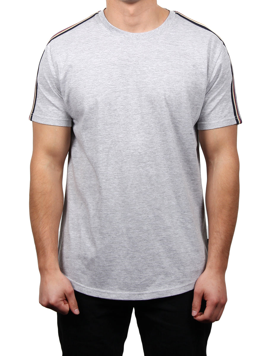 SS CURVED CREW NECK WITH ATHLETIC TAPE  SKU: W2437-0014
