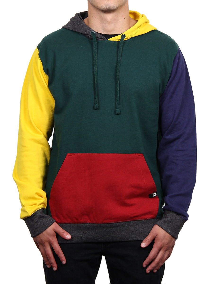COLOR-BLOCK LONG SLEEVE PULLOVER HOODIE