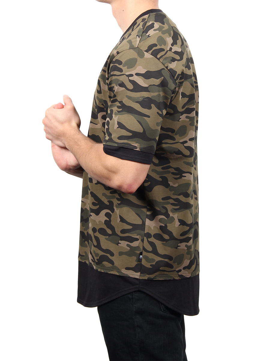 SHORT SLEEVE CAMO TWOFER CREW TEE