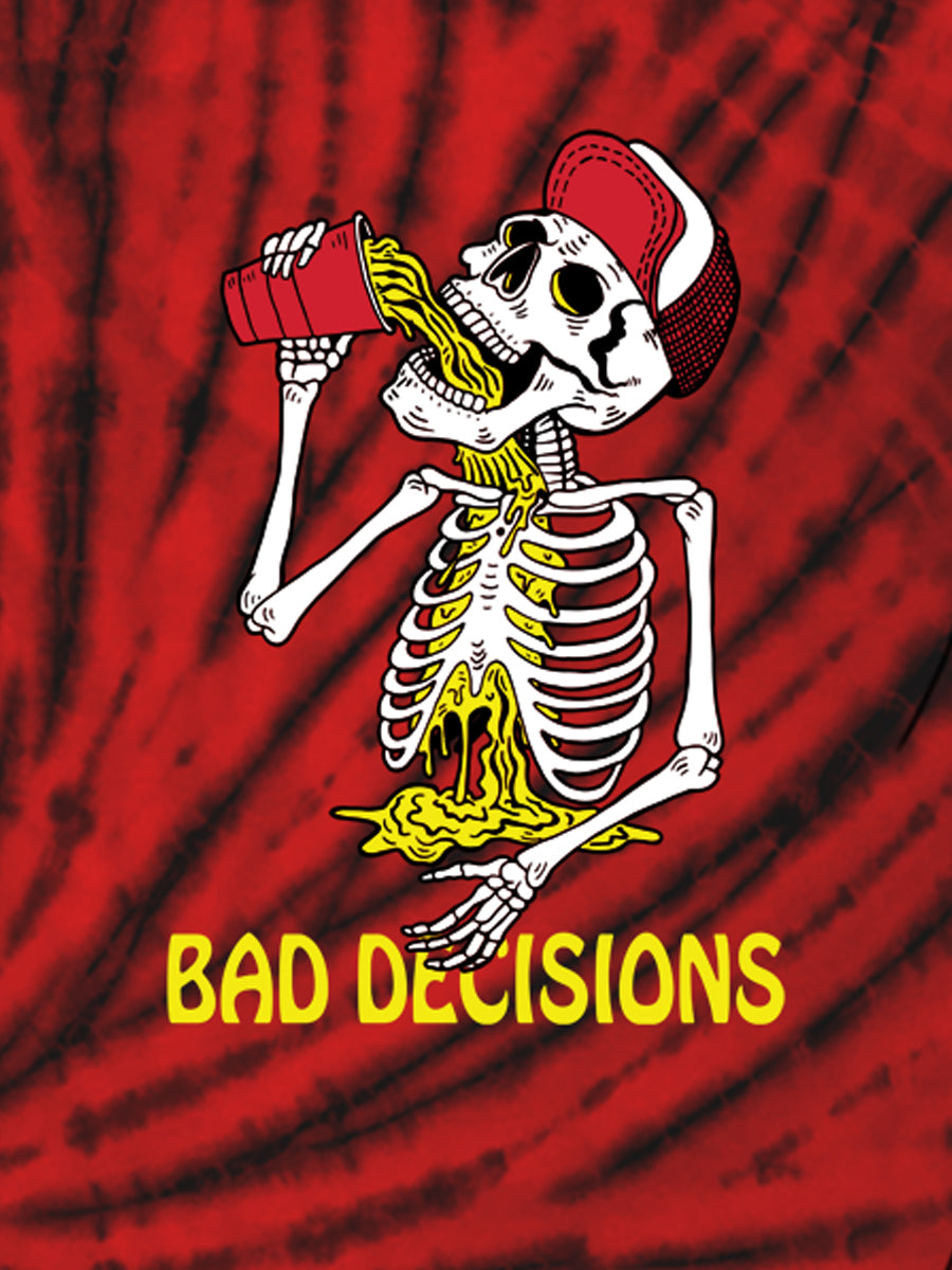 BAD DECISIONS TIE DYE UNISEX CREW TEE   SKU: W2437-0511CW