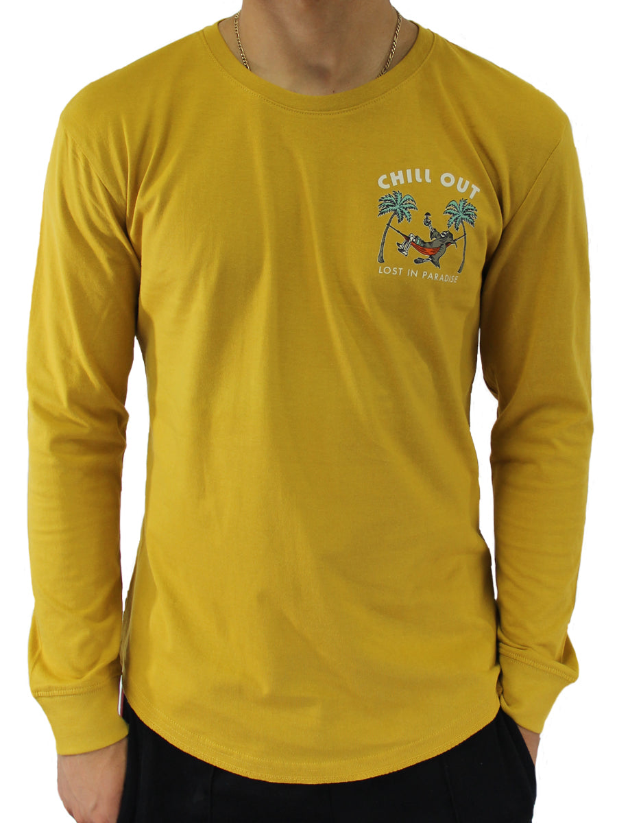 CHILL OUT LONG SLEEVE CREW NECK TEE