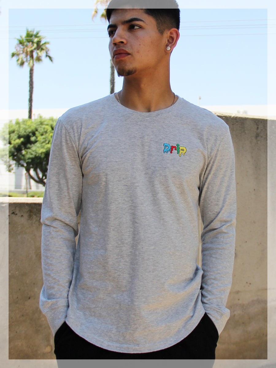 DRIP LONG SLEEVE CREW NECK TEE  SKU: W2448-0617EM