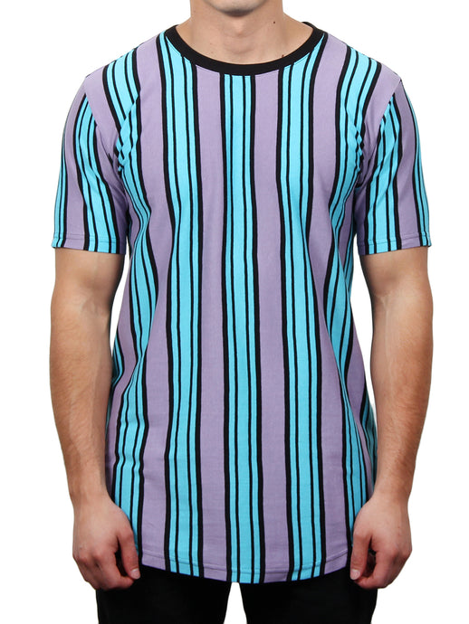 EVAN VERTICAL STRIPE CREW NECK TEE