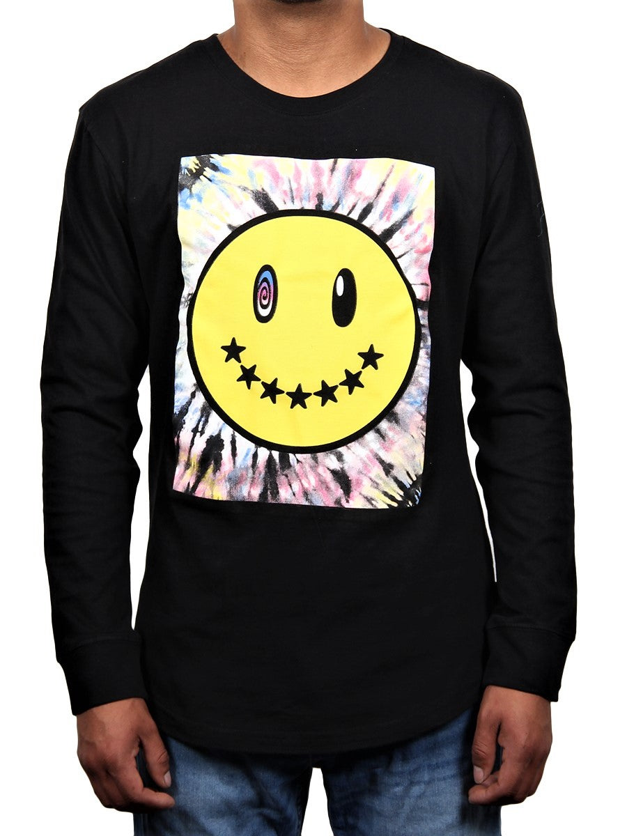 TRIPPY SMILE MEN'S LONG SLEEVE CREW NECK TEE  SKU: W2448-0566PT
