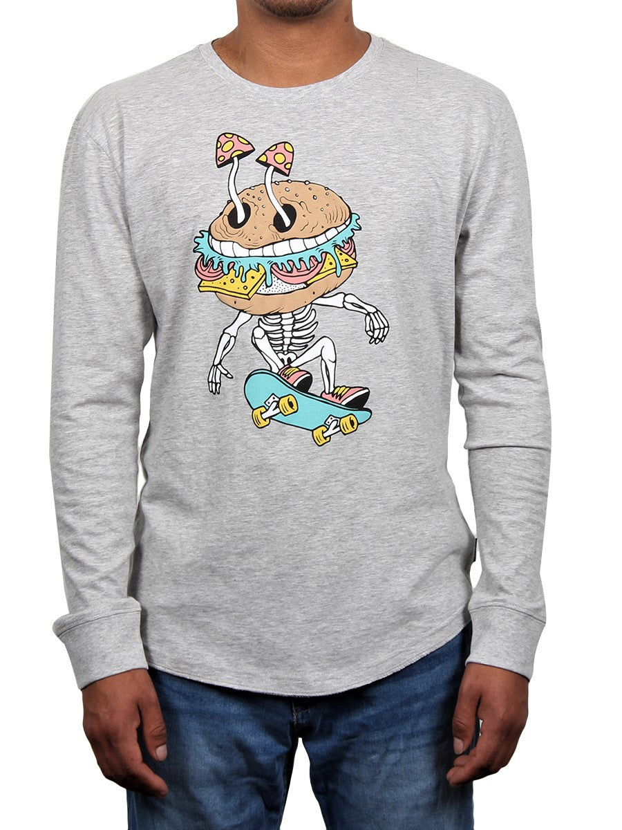 BURGER HEAD LONG SLEEVE MEN'S CREW NECK TEE  SKU: W2448-0569PT