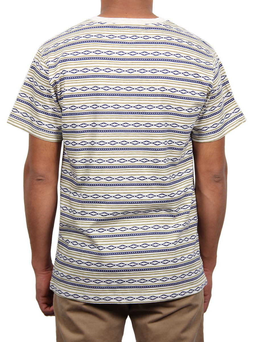 TRIBAL PRINT JERSEY SS V-NECK